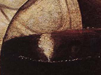 "Фрагмент ""Вакха"" Караваджо. ""Автопортрет"" находится правее яркого блика. Репродукция с сайта lib-art.com"