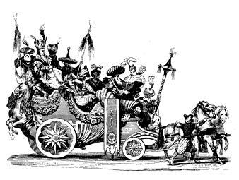 Парад на карнавале в Риме в 1748 году. Фрагмент гравюры 1842 года. Фото с сайта Лента.ру
