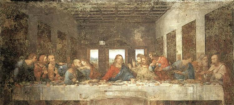 """Фреска Ленардо да Винчи """"Тайная Вечеря"""". Милан. Италия"""